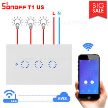 Itead Sonoff T1 US Wifi Wall Switch Wireless Light Relay 315MHz RF /Touch /App Control Smart Switch Works with Alexa Google Home
