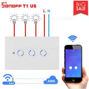 Image 1 - Itead Sonoff T1 US Wifi interrupteur mural relais de lumière sans fil 315MHz RF/tactile/App contrôle commutateur intelligent fonctionne avec Alexa Google Home