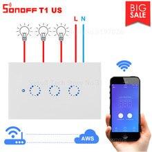 Itead sonoff t1 eua wi fi interruptor de parede relé luz sem fio 315mhz rf/touch/app controle inteligente interruptor funciona com alexa casa do google