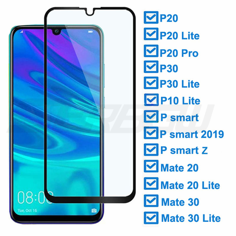 9D Tempered Glass For Huawei P30 Lite P20 Pro P smart Z 2019 Protective Glass For Huawei Mate 20 30 Lite Screen Protector Film 1