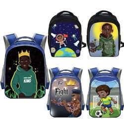 Sac à dos imprimé afro pour garçons, sacs d'école pour garçons noirs, en toile, cartable des jardins d'enfants 13 pouces