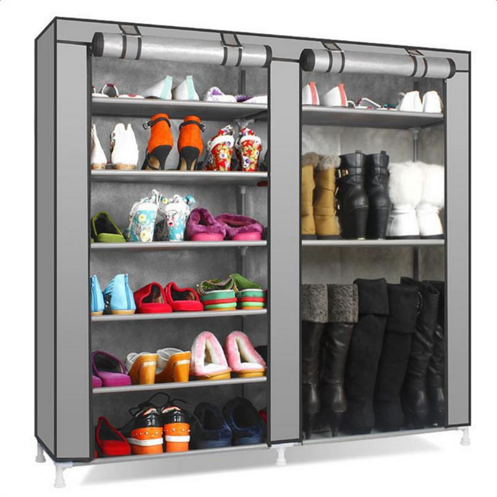 Double Rows 9 Lattices Shoe Cabinet Gray Combination Style Shoes Storage Racks for home dormitory