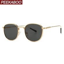 Peekaboo black square sunglasses women retro green gold 2020