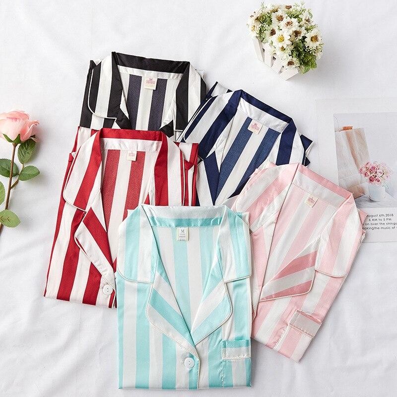 Female Casual Soft Satin   Sleepshirt   Exquisite Striped Nightdress Nightwear Sexy Homewear Intimate Lingerie Sleepwear   Nightgown