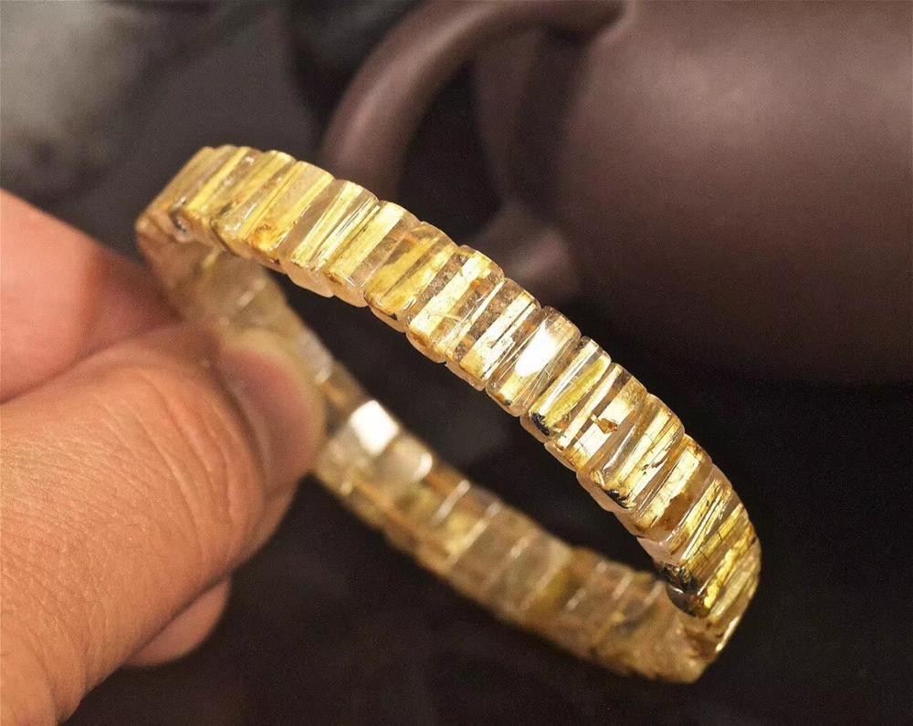 Genuine Natural Gold Rutilated Quartz Bracelet Crystal 9x4mm Rectangle Beads Bangle Wealthy Healing Stone Fashion Bangle AAAAA