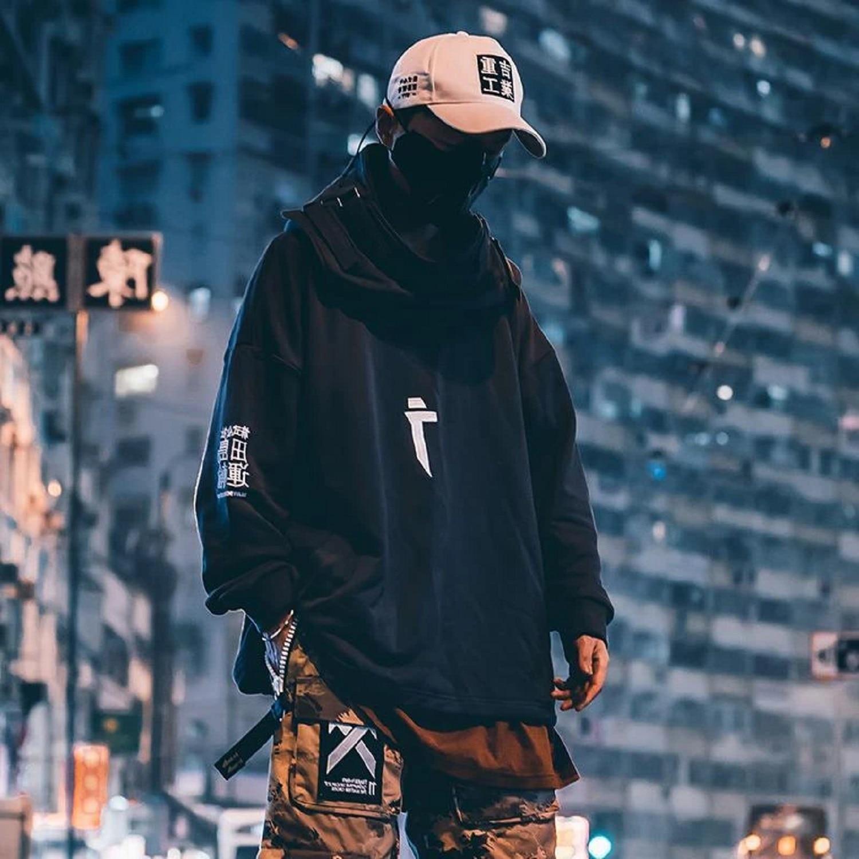 11 BYBB'S DARK Japanese Streetwear Hoodie Men Harajuku Neck Fish Mouth Pullovers Sweatshirts Oversized Hip Hop Hoodies Techwear 3