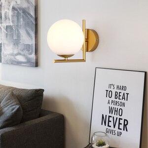Image 5 - モダンなスタイル E27 led ウォールランプ北欧ガラスボール用通路廊下寝室のベッドサイドランプ壁燭台 AC85 265V