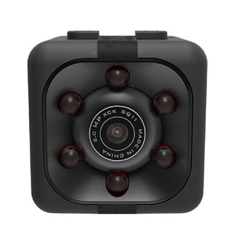 กล้อง Sq11 PRO MINI กล้อง HD 1080P Night Visual นาฬิกาดิจิตอล MINI Aerial กล้องพลาสติกสีดำ