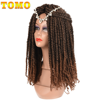 TOMO Passion Twist Crochet Hair 18 Inch Pre-looped Synthetic Crochet Braids Hair Extensions Ombre Braiding Hair Black Brown Red 2