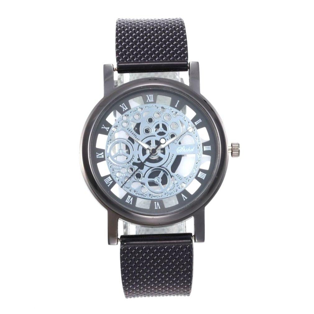 Fashion Skeleton Wrist Watch Men Simple Style Mesh Belt Men Women Unisex Quartz Watches Hollow Watches
