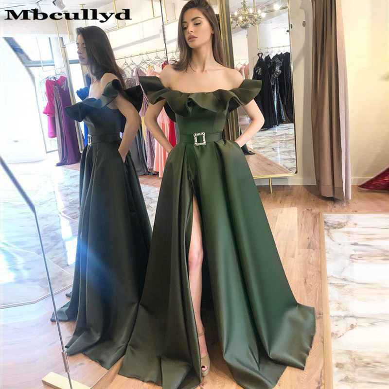 Mbcullyd Dark Green   Prom     Dresses   Long 2019 With Pockets Africa India Evening   Dress   For Women Saudi Arabia Vestidos De Gala
