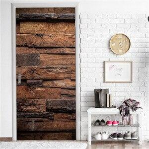 Retro Wooden Door Stickers PVC Waterproof Wallpaper For Doors Living Room Bedroom Home Decor Mural DIY Renovation Decal 90x200cm
