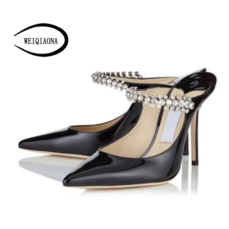 WEIQIAONA Spring And Summer Low Heel Stiletto Pointed Shoes Gauze Rhinestone Sandals Foot Ring Strap