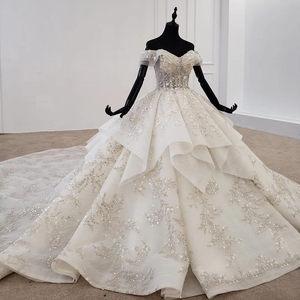 Image 3 - HTL1271 2020 della boemia abito da sposa al largo della spalla manica corta di applique fiore di paillettes donna abito da sposa abito da sposa nuovo