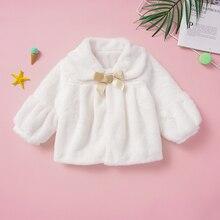 Girl Coat Cape Kids Faux-Fur Children Winter 1-6T White Outerwear Shawl Wrap-Shrug Party