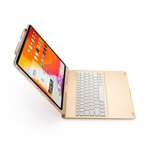 Image 5 - Housse de protection avec clavier, pour iPad Pro pivotant à 12.9 à 2018 degrés, rétroéclairage LED sans fil Bluetooth, avec clavier russe, espagnol et hébreu