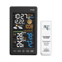 Protmex метеостанция, PT19C Беспроводная Цветовая Метеостанция Будильник с температурой, влажностью и барометром