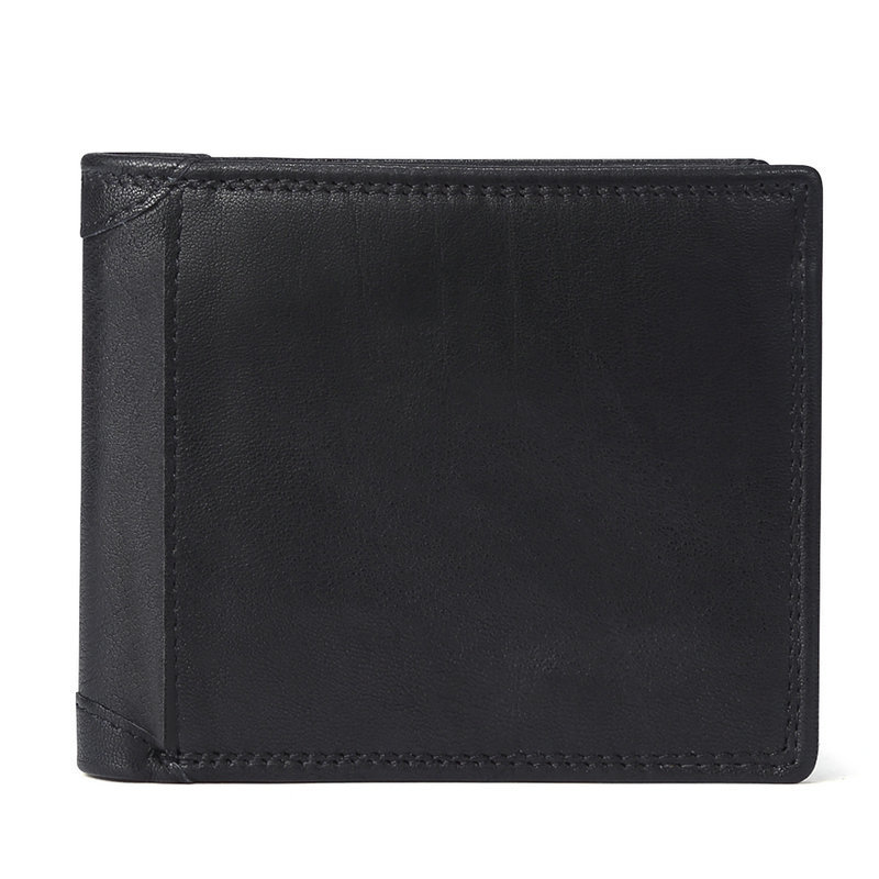 H88ff964247404a95888c67189200cd373 - GENODERN Cow Leather Men Wallets with Coin Pocket Vintage Male Purse Function Brown Genuine Leather Men Wallet with Card Holders