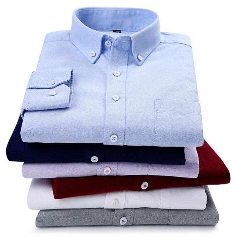 Jeunes étudiants hommes mode à manches longues col rabattu solide couleur bonbon chemises Camisa, Oxford respirant Slim Fit lavé tissu