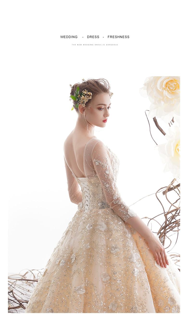 Image 2 - New Luxury Lace Wedding Dress Long With Sleeve Bridal Gown For Hotel Lawn wedding Elegant Bride Dress vestido de casamento 2020Wedding Dresses   -