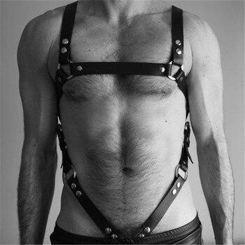 Fetisch Männer Leder Brust Gürtel Einstellbar für BDSM Bondage 1