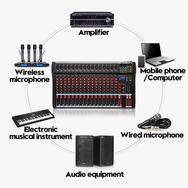 110 В аудио микшер с USB bluetooth 6 музыкальных режимов DJ звуковая микшерная консоль MP3 Jack караоке усилитель для KTV Match Party