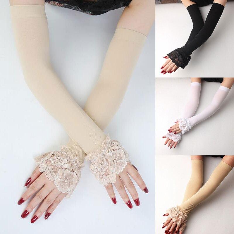 Sommer Spitze Arm Hülse Frauen Sexy Sonnenschutz Lange Finger Arm Hülse Elastische Fäustlinge Überdachte Solid Farbe Fahr Arm Handschuhe