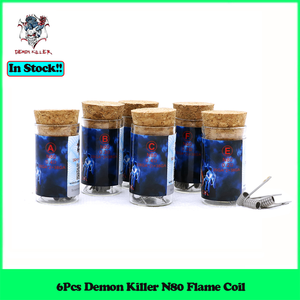 6Pcs Demon Killer <font><b>N80</b></font> Flame Coil for atomizer RDA RBA RTA RDTA DIY electronic cigarette vape tank <font><b>wire</b></font> prebuilt coil head image