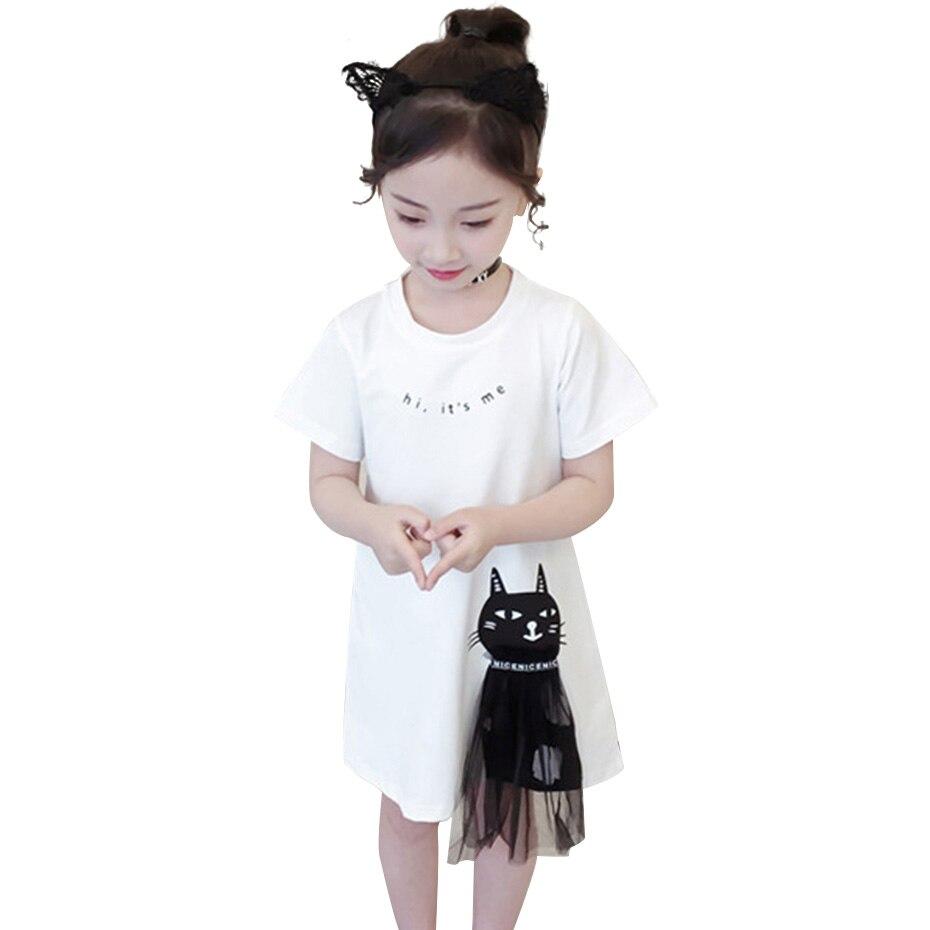 Летнее платье для девочек, повседневные стильные платья для девочек, детские платья с мультяшным котом, костюмы для девочек-подростков, для ...