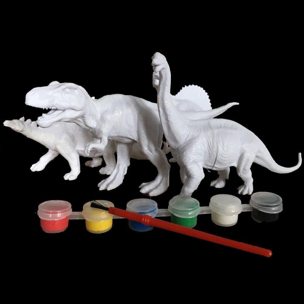 DIY Mewarnai Lukisan Hewan Dinosaurus Brachiosaurus Stegosaurus Tyrannosaurus Rex Model Menggambar Graffiti Mainan Anak