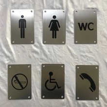 Stainless Steel Wc Toilet Door Sign Funny Wall Sticker Indication Plaque Bathroom Hotel Door Number House Signage Plate