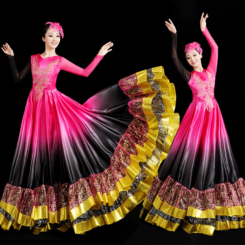 Spanish Bullfight Dance Flamenco Skirt Ballroom Style Women Bronzing Gradient Ruffles Dress Gypsy Stage Performance Wear DL6096