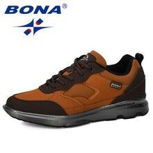 BONA 2019 מעצב חדש Mens נעליים יומיומיות פרה פיצול נוח הליכה נעלי גבר החלקה לביש גברים סניקרס פנאי הנעלה