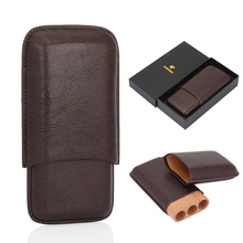COHIBA Leather Brown Cigar Humidor Case Cedar Wood Lined Box 3 Tube Portable Accessories Travel Gadgets