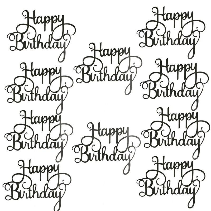 10pcs Gittler Happy Birthday Cake Topper Bling Sparkle Decoration Sign Happy Birthday Cake Topper Girl`s Birthday Dessert Decor 4