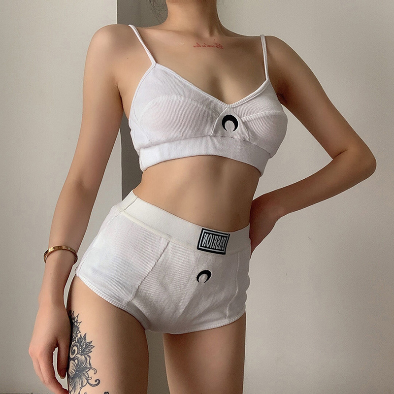 BOOFEENAA Hot Moon Embroidery White Ribbed Bra and Panty Sexy Two Piece Outfits for Women Summer Lingerie Sets C94-BI17 4