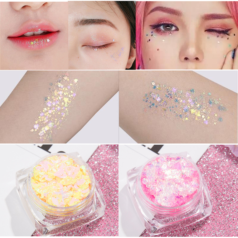 Gel-Cream Pigment Jewels Glitter Shimmer-Face Sequin Body-Face Eye-Shiny TSLM1 12-Color