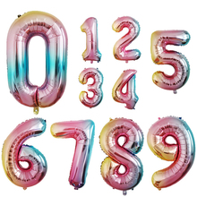 32 Inch Big Foil Birthday Balloons Air Helium Number Balloon Happy Birthday Party Decoration Gold Silver Black Figures Ballon