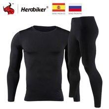 HEROBIKER, мужское термобелье с флисовой подкладкой, комплект мотоциклетного лыжного спорта, базовый слой, зимние теплые кальсоны, рубашки и топы, нижний костюм