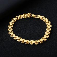 Pozłacana modna bransoletka dla mężczyzn CrossChain klasyczna luksusowa wykwintna modna biżuteria 24K złota tanie tanio Chain link bransoletki Unisex Miedziane CN (pochodzenie) TRENDY łańcuszek NONE 20cm Electroplating