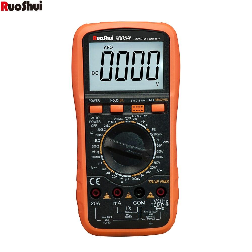 RuoShui-multímetro digital profesional 9805A +, medidor de valores eficaces verdaderos, voltímetro AC/DC, amperímetro, 1000V20A, resistencia de frecuencia de capacitancia