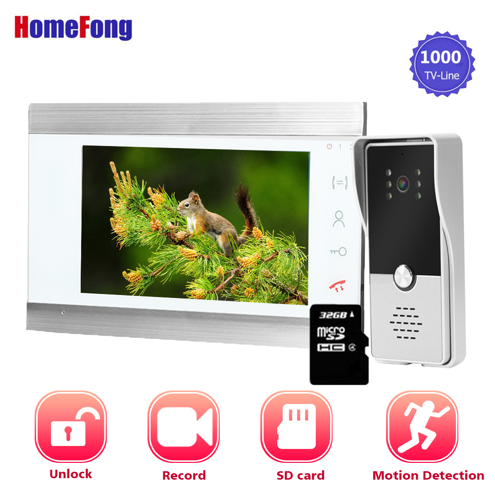 Homefong 7 Inch Video Doorbell Intercom System Wired Door Video Intercom With SD Card Waterproof Outdoor Station Night Vision