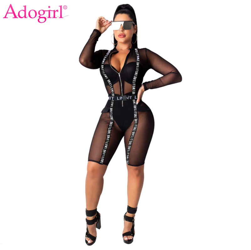 Adogirl Letter Strap Sheer Mesh Knee Length Jumpsuit Front Zipper V Neck Long Sleeve Night Club Playsuit Women Sexy Romper