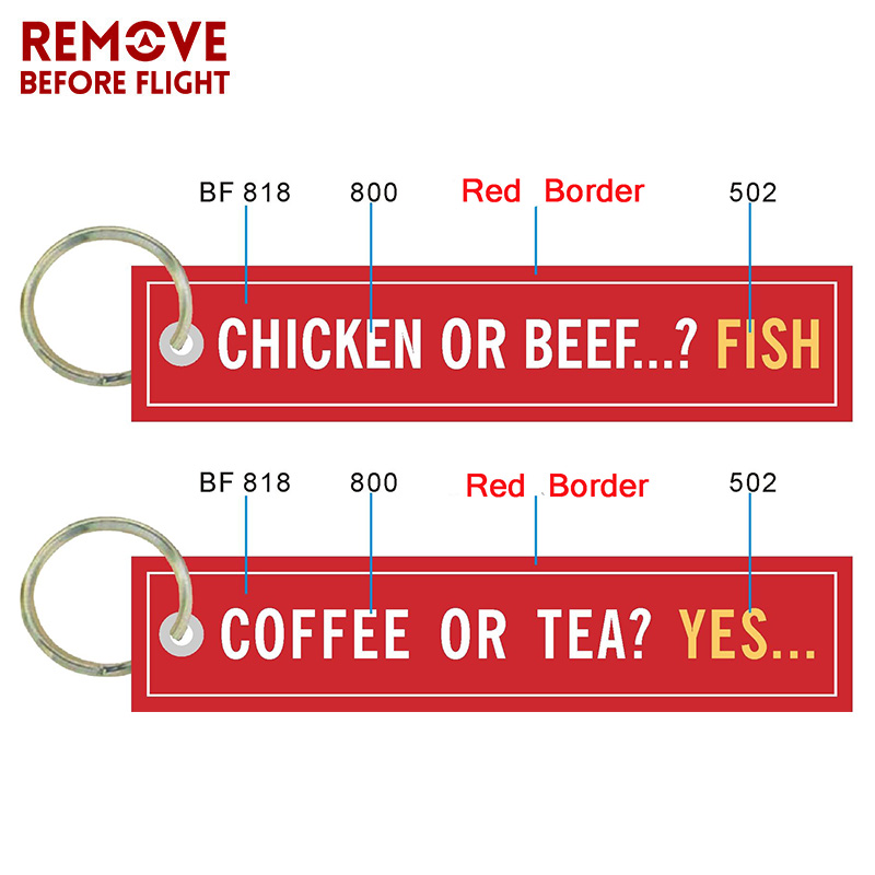Coffee or YES Keychains for Cars Embroidery Chicken or Beef Fish Key Chain Bijoux Gifts Tag Porte Clef Aviation Key Chains (1)