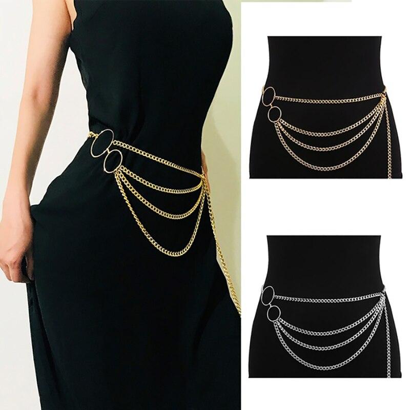 Tassel Gold Chain Belt For Women Dresses Designer Brand Luxury Punk Fringe Silver Waist Belts Female Metal Golden Dress Belt