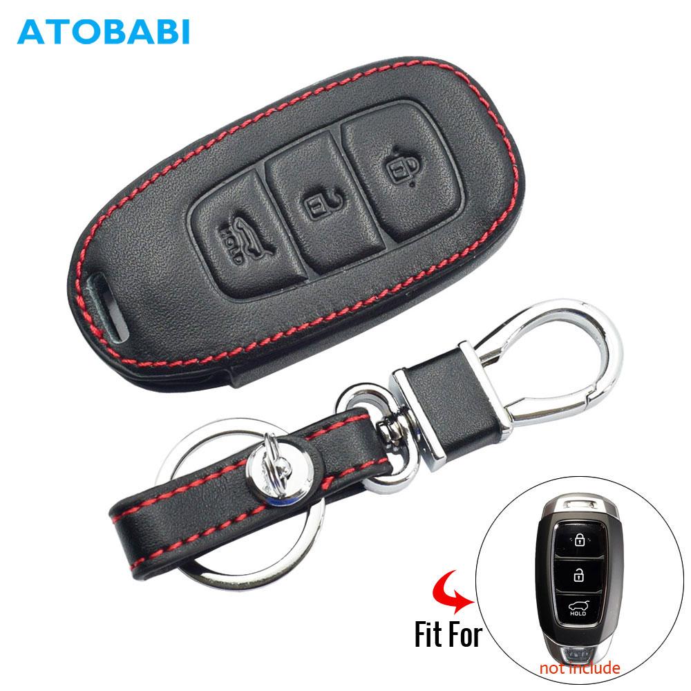 Leather Car Key Case For Hyundai Santa Fe TM 2019 I30 2018 Solaris Azera Elantra Grandeur Accent Keychain Holder Protector Cover