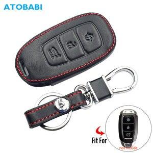 Leather Car Key Case For Hyundai Santa Fe TM 2019 I30 2018 Solaris Azera Elantra Grandeur Accent Keychain Holder Protector Cover(China)
