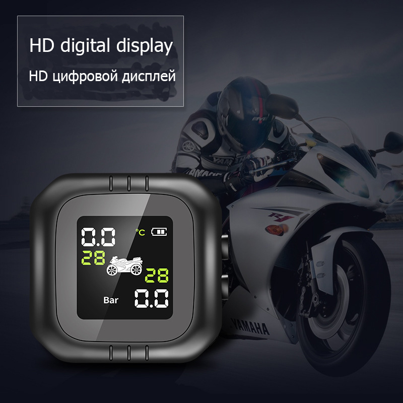 Motorcycle Tire Pressure Monitor Waterproof Solar External Motorcycle Universal Tire Detection Wireless Monitor XC-63