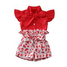 цена на 1-6Y Toddler Kids Baby Girls Clothes Sets Ruffles Bow Vest Top Shirt Watermelon Print Shorts Clothes Outfit