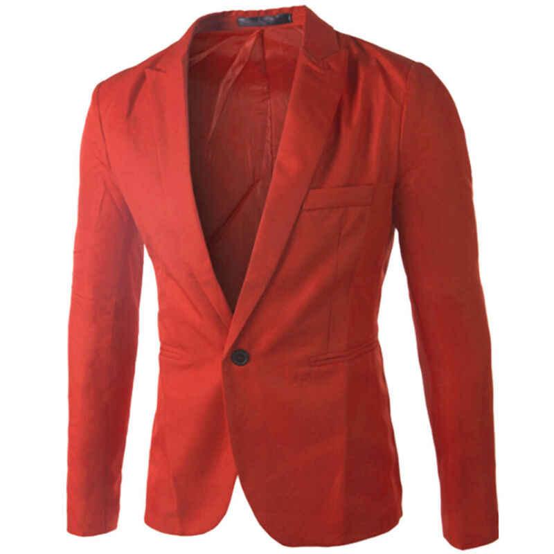 Moda męska kombinezon z jednym guzikiem formalne Casual Slim fit, blezer do pracy płaszcz kurtka marynarka na guziki formalne plus rozmiar L-3XL